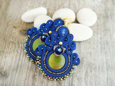 Blue dangle earrings soutache earrings large blue by pUkke on Etsy