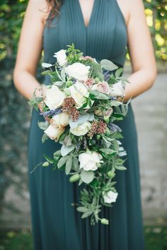Cascading bridesmaid bouquet - love the colour contrast with dress too Beach Wedding Bridesmaid Dresses, Beach Wedding Flowers, Bridesmaid Bouquet, Green Wedding, Wedding Colors, Fall Wedding, Wedding Bouquets, Bridesmaid Ideas, Perfect Wedding