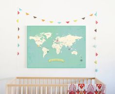 World Wall Map My Travels Personalized World by ChildrenInspire