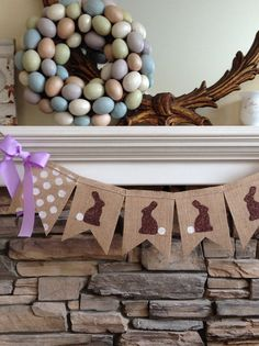 Easter Bunny Burlap Banner~  Who can resist all the cuteness in a chocolate Easter Bunny? Each pennant is hand painted with a chocolate brown