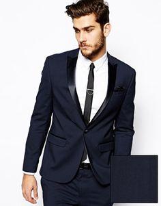 Navy slim fit end-on-end business suit trousers | Men's Suits