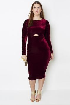 """Dress by Grisel 100% Stretch Velvet- Long Sleeves - Midi Length: 44"""" - Body-Conscious Fit"""