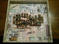 Groepsfoto van grindstenen, dienblad en tuinafvalhout