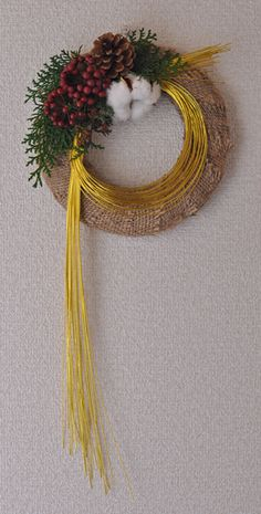 Pin by yoooooming on しめ飾り Ikebana Arrangements, Floral Arrangements, New Years Decorations, Christmas Decorations, Japanese Ornaments, Japanese New Year, Christmas Arrangements, Diy Wreath, Holiday Wreaths