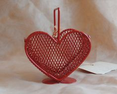 Tiny Heart Shaped Basket Small Red Metal Wire by MendozamVintage