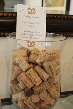 """Wine Corks: game """"guess how many corks?"""" for a wine tasting party; person closest to the number wins a bottle of wine Wine Tasting Events, Wine Tasting Party, Beer Tasting, Wine Parties, Wine And Cheese Party, Wine Cheese, Traveling Vineyard, Wine Guide, Wine Night"""