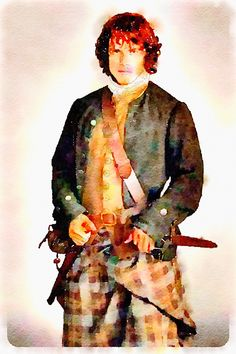 Used the iPhone App Waterlogue to create this, starting with one if the official Outlander TV Series photos on the Starz webpage. You even print it on watercolor paper then use a fine brush dipped in water to make the printer ink look like a real painting. Can even touch up with watercolor paints - just experiment!