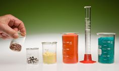 examples of moles for different substances (from left to right): copper, aluminum, sulfur, potassium dichromate, water, copper (II) chloride dihydrate
