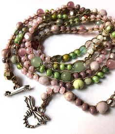 Pink and green crochet beaded wrap bracelet or necklace