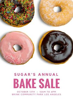 White with Donuts Bake Sale Flyer