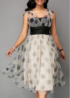 High Waist Mesh Patchwork Dot Print Dress | Rosewe.com - USD $33.69