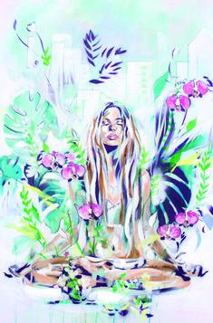 In the Fields Meditation zen painting in a tropical setting By Hannah Adamaszek online shop gallery Art Inspo, Kunst Inspo, Inspiration Art, Zen Meditation, Meditation Benefits, Yoga Kunst, Yoga Painting, Yoga Art, Oeuvre D'art