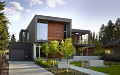 modern home exterior designs 94 Modern Home Exterior Ideas: With Wooden & Soft Grey