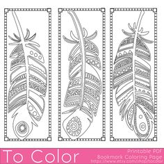 Feathers Coloring Page Bookmarks - this is a printable PDF coloring page from To Color