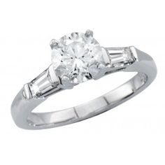 diamond engagement ring with tapered baguette side stones