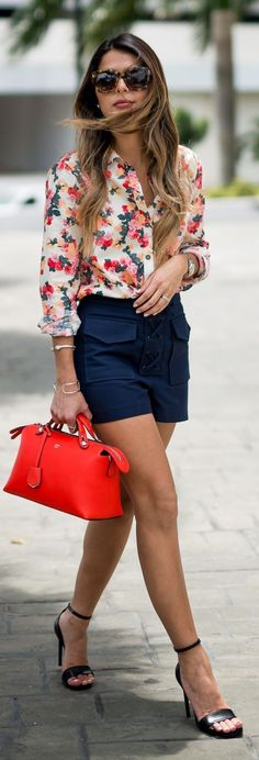 #summer #shorts #trend #outfitideas | Floral Blouse + Navy Shorts