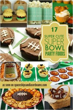 17 Super Cute Food Ideas for Super Bowl Sunday - Superbowl Party Food Super Bowl Party, Super Bowl 2016, Super Bowl Sunday, Super Bowl Dessert Ideas, Super Bowl Menu, Healthy Superbowl Snacks, Football Snacks, Football Parties, Superbowl Desserts