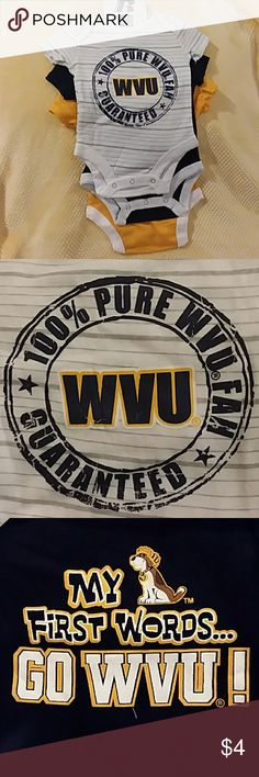"3 pack WVU onesies 3 pack of brand new Russell WVU onesies. Go Mountaineers! One white with grey stripes and ""100% Pure WVU fan"". One dark blue with dog and ""My first words 'Go WVU'"". One yellow ""Scout this"" with WV logo. Plus recieve free gift with every baby purchase!! Russell Athletic One Pieces Bodysuits"