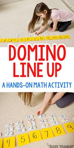 DOMINO LINE-UP: Grab out those dominos for this quick and easy preschool math activity. Head to your game closet - it's time to make a domino line-up. A quick and easy preschool math activity to develop number sense skills Number Sense Activities, Graphing Activities, Preschool Learning Activities, Teaching Kids, Numeracy, Subitizing, Maths Eyfs, Toddler Preschool, Preschool Centers