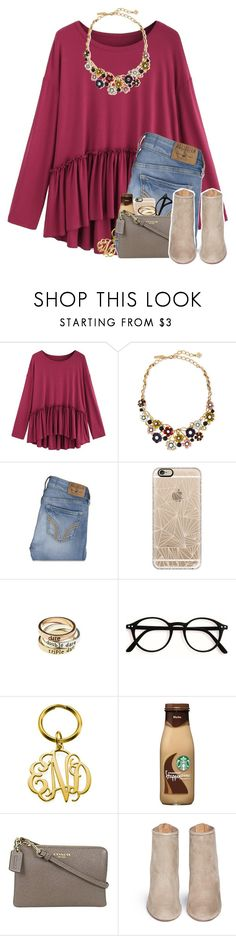 """but i'd risk it all"" by madelinelurene ❤ liked on Polyvore featuring Oscar de la Renta, Hollister Co., Casetify, American Eagle Outfitters, Coach and Aquazzura"