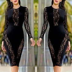 Sexy Lace Patchwork Long Sleeve Bodycon Dress