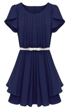 Vestido gasa plisado con volantes-Azulon 22.23 Sheinside