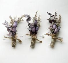 purple wedding boutonnieres (by which goose) #purple #grey #wedding #handmade