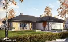 Projekt domu Eris II (wersja C) energo One Storey House, Villa Plan, 4 Bedroom House Plans, Brick Design, Gazebo, Sweet Home, Exterior, Outdoor Structures, Flooring