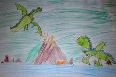 Kinderzeichnung, Drachen, Vulkan, Flugdrachen, Malen
