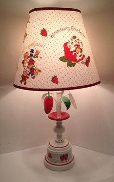 "Vintage 1980 Strawberry Shortcake Table Lamp 23"" Shade American Greetings Co."