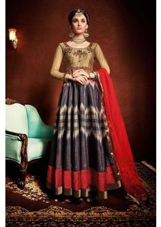 Multi Japan Satin, Taffeta Silk Anarkali Suit, - £85.00, #IndinaFashion #OnlineSuit #DressesLatest #Shopkund