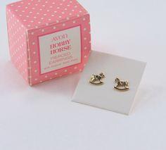 Vintage 1981 Signed Avon Hobby Horse Goldtone Open Work Animal Gold Tone Cute Small Pierced Stud Earrings in Original Box NIB by ThePaisleyUnicorn on Etsy