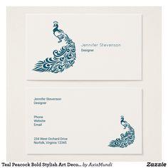 Teal Peacock Bold Stylish Art Deco Design Business Card