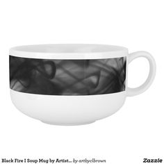 "The Black Fire I Soup Mug designed by Artist C.L. Brown features fire photography converted to black and white. Make mealtime more fun with an artist designed soup mug! Serve your favorite soup in a porcelain mug that's both microwave and dishwasher safe. You can use this mug for hot or cold drinks, or even a cereal bowl! Soup mug meets or exceeds FDA requirements for food and beverage safety. Dimensions: Height: 3.4""; Diameter: 5.4""; Capacity: 28 ounces."