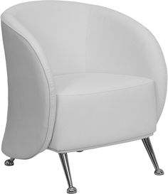 HERCULES Jet Series White Leather Reception Chair, ZB-JET-855-WH-GG by Flash Furniture by Flash Furniture | BizChair.com