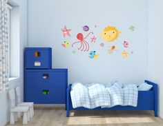 "Marine Animals Fishes - Baby Boy Girl Unisex Nursery - Wall Decal For Bedroom Sticker (Wide 42"" x 20"" Height). Product 100% Made in USA. Vinyl sticker easy to apply on any flat surface. Other sizes also available, ask for it. Removable material, easy to apply and remove. We make custom designs, just ask for it."