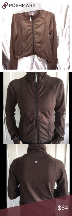 Lululemon Brown Chevron Herringbone Pattern Excellent preowned vintage Lululemon Jacket. Size was rubbed off due to age of jacket but fits like a 6. Thumb holes. Zipped pockets.  Smoke and pet free home. lululemon athletica Jackets & Coats