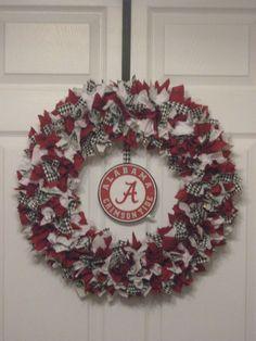 "I am so going to makw this!!!    18"" Alabama Crimson Tide Fabric Wreath with Crimson Tide Logo. $39.99, via Etsy."