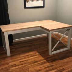 L Shaped Double X Desk - Handmade Haven L Shaped Wood Desk, L Shaped Office Desk, Diy Office Desk, Diy Projects Plans, Diy Furniture Projects, Pipe Furniture, Furniture Vintage, Wood Projects, Furniture Design