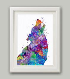 Howling Wolf Art Print Wolf Watercolor Print Wolf Home Decor Wolf Nursery Decor Colorful Wolf Wall Art Wolf Lover Gift Animal Lover Gifts