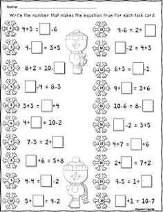 FREE Winter Worksheet using Single Digit Equal Equations