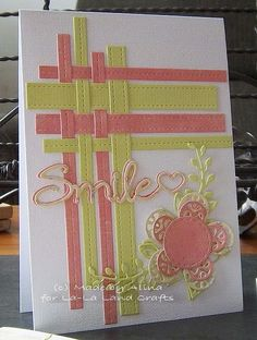 handmade card with woven strip corner from La-La Land Crafts Inspiration and… Handmade Birthday Cards, Greeting Cards Handmade, Making Greeting Cards, Cricut Cards, Stampin Up Cards, Cute Cards, Diy Cards, Card Making Techniques, Card Tutorials