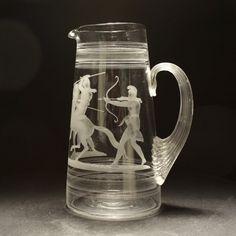 Antiques Atlas - C1870 Richardson Roman Acid Etched Water Glass Jug Glass Jug, Water Glass, Cut Glass, Glass Etching Art, Roman, Drinking Glass, Antique Glass, Good Old, Colored Glass