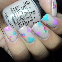 A nude base is perfect for the pastel shapes for accent as shown in this nail art. Get the essentials used and treat your nails to this cute manicure. Love Nails, How To Do Nails, Pretty Nails, Nail Polish Designs, Nail Art Designs, Fingernails Painted, Colorful Nail Art, Super Cute Nails, Nailart