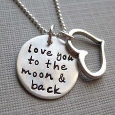 Love you to the moon and back necklace - Sterling Silver necklace with a Heart charm - Keepsake (NN001) - USD $46.99,Free Shipping !