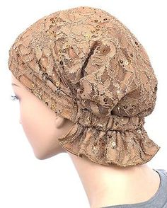 Diy Crafts - Abbey Cap Womens Chemo Hat Beanie Scarf Turban Headwear for Cancer Lace Sequin Beige Scrub Hat Patterns, Hat Patterns To Sew, Dress Sewing Patterns, Scrub Hats, Scarf Styles, Sewing Tutorials, Hats For Women, Knitting, Club Fashion