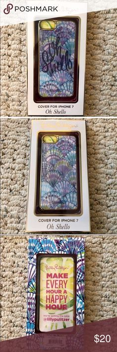 """NWTLillyPulitzerHolographic iPhone7Cover Oh Shello NWT Lilly Pulitzer Holographic iPhone 7 Cover in Oh Shello. """"Oh Shello"""" hologram appears and disappears depending on the angle at which you hold it. Love the blues and purples in this one! 💙💜💙 Brand new, never used. Retail $38. Lilly Pulitzer Accessories Phone Cases"""
