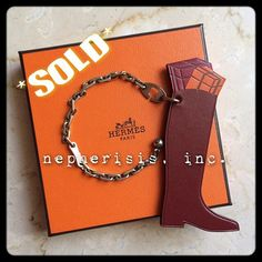 Hermes Hotte Botte leather keychain or bag charm. No longer in production.