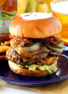 My ultimate Bacon Burger with Roasted Jalapenos, Caramelized Onions and Guacamole is everything I love on a burger. I don't always make burgers at home, but when I do it has to be my kind of bacon burger. Hamburger Recipes, Beef Recipes, Cooking Recipes, Barbecue Recipes, Cooking Tips, Gourmet Burgers, Beef Burgers, Burger Buns, Veggie Burgers