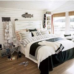 A white beach themed bedroom with floating coastal decorative elements of the walls is a perfect example of how should you create a loose and yet modern nautical themed bedroom. Description from rilane.com. I searched for this on bing.com/images